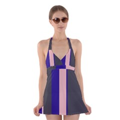 Purple, pink and gray lines Halter Swimsuit Dress