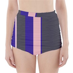 Purple, pink and gray lines High-Waisted Bikini Bottoms