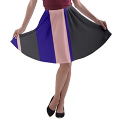 Purple, pink and gray lines A-line Skater Skirt