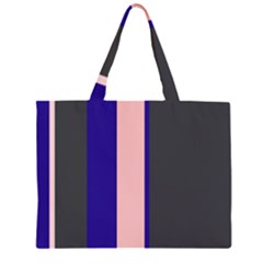 Purple, pink and gray lines Zipper Large Tote Bag