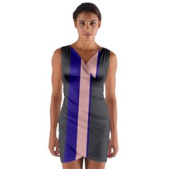 Purple, pink and gray lines Wrap Front Bodycon Dress