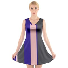 Purple, pink and gray lines V-Neck Sleeveless Skater Dress