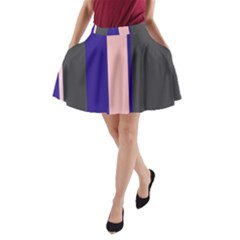 Purple, pink and gray lines A-Line Pocket Skirt