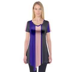 Purple, Pink And Gray Lines Short Sleeve Tunic