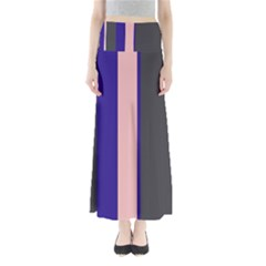 Purple, Pink And Gray Lines Maxi Skirts