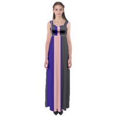 Purple, pink and gray lines Empire Waist Maxi Dress