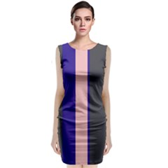 Purple, Pink And Gray Lines Classic Sleeveless Midi Dress