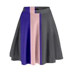 Purple, Pink And Gray Lines High Waist Skirt