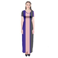 Purple, Pink And Gray Lines Short Sleeve Maxi Dress