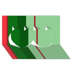 Green and red design Twin Hearts 3D Greeting Card (8x4)