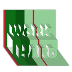 Green and red design WORK HARD 3D Greeting Card (7x5)