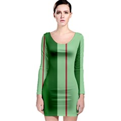 Green and red design Long Sleeve Bodycon Dress