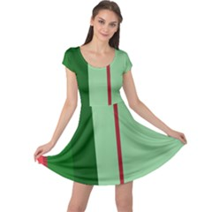 Green and red design Cap Sleeve Dresses