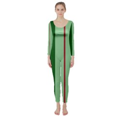 Green and red design Long Sleeve Catsuit