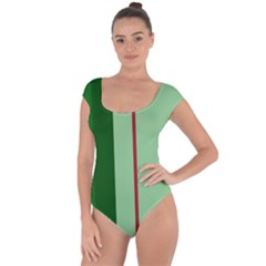 Green And Red Design Short Sleeve Leotard