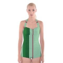 Green and red design Boyleg Halter Swimsuit