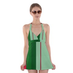 Green and red design Halter Swimsuit Dress