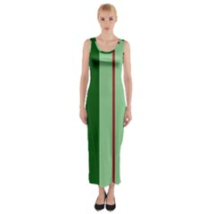 Green and red design Fitted Maxi Dress