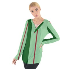 Green and red design Women s Tie Up Tee