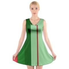 Green and red design V-Neck Sleeveless Skater Dress