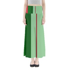 Green And Red Design Maxi Skirts