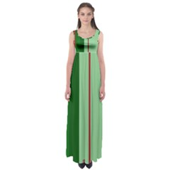 Green And Red Design Empire Waist Maxi Dress