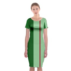 Green and red design Classic Short Sleeve Midi Dress