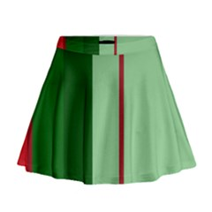 Green and red design Mini Flare Skirt