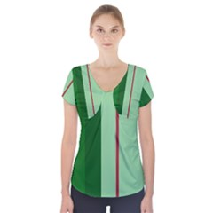 Green and red design Short Sleeve Front Detail Top