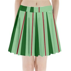 Green and red design Pleated Mini Mesh Skirt(P209)