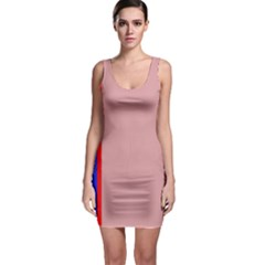 Pink elegant lines Sleeveless Bodycon Dress