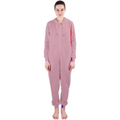 Pink elegant lines Hooded Jumpsuit (Ladies)