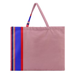 Pink Elegant Lines Zipper Large Tote Bag