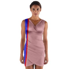 Pink elegant lines Wrap Front Bodycon Dress