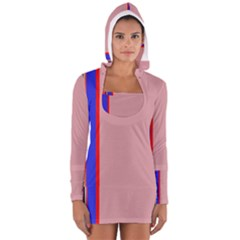 Pink elegant lines Women s Long Sleeve Hooded T-shirt