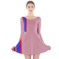 Pink elegant lines Long Sleeve Velvet Skater Dress