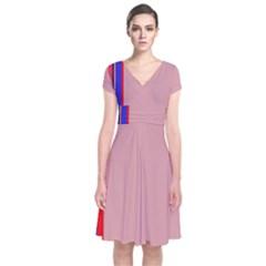 Pink elegant lines Short Sleeve Front Wrap Dress