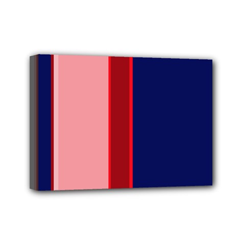 Pink and blue lines Mini Canvas 7  x 5