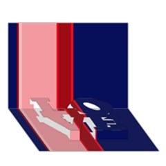 Pink and blue lines LOVE Bottom 3D Greeting Card (7x5)