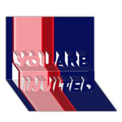 Pink and blue lines YOU ARE INVITED 3D Greeting Card (7x5)