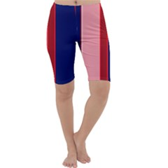 Pink and blue lines Cropped Leggings