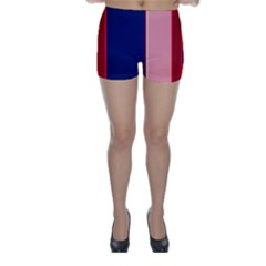 Pink and blue lines Skinny Shorts