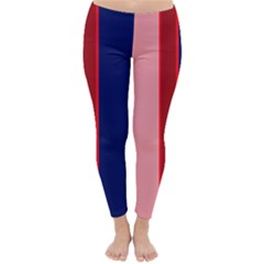 Pink and blue lines Winter Leggings