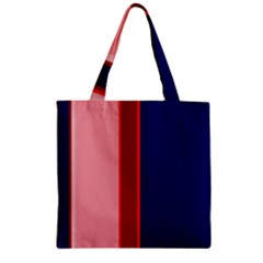 Pink and blue lines Zipper Grocery Tote Bag