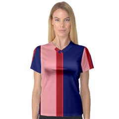 Pink and blue lines Women s V-Neck Sport Mesh Tee