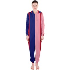 Pink and blue lines Hooded Jumpsuit (Ladies)