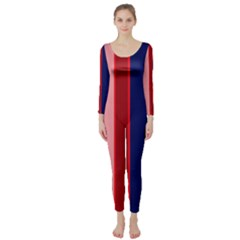 Pink and blue lines Long Sleeve Catsuit