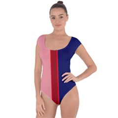 Pink and blue lines Short Sleeve Leotard