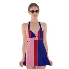 Pink and blue lines Halter Swimsuit Dress