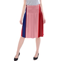 Pink and blue lines Midi Beach Skirt